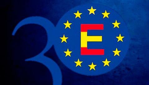 Logo de los 30 años de España en la UE