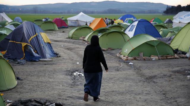 Campamento de refugiados en Macedonia
